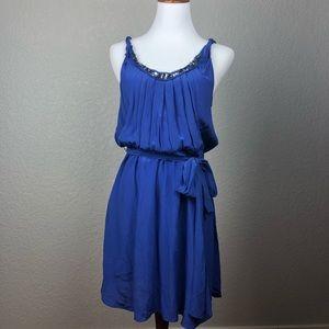 Rebecca Taylor Cobalt Blue Silk Sequin Dress Sz 10